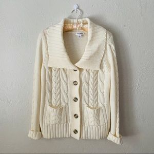 Retro St Johns Bay Cream Cable Knit Sweater
